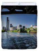 A Look At The Chicago Skyline From Under The Roosevelt Road Bridge  Duvet Cover