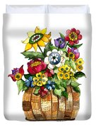 A Lovely Basket Of Flowers Duvet Cover