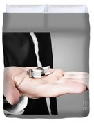 A Male Model Showcasing Cuff Links In His Hand Duvet Cover