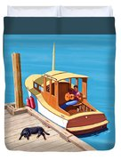 A Man, A Dog And An Old Boat Duvet Cover