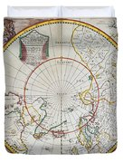 A Map Of The North Pole Duvet Cover by John Seller