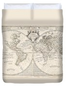A Map Of The World Duvet Cover by John Senex