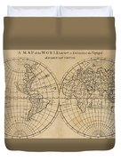 A Map Of The World With The Voyage Of Robinson Crusoe Duvet Cover