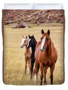 A Mare And Two Friends Duvet Cover