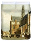 A Market By The St. Bavo Church Duvet Cover