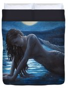 A Mermaid In The Moonlight - Love Is Mystery Duvet Cover by Marco Busoni