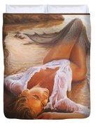 A Mermaid In The Sunset - Love Is Seduction Duvet Cover