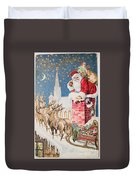 A Merry Christmas Vintage Greetings From Santa Claus And His Raindeer Duvet Cover