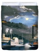 A Midnight Race On The Mississippi Duvet Cover