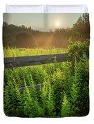 A Midsummer's Morn - Misty Sunrise Over Connecticut Meadow Duvet Cover