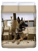 A Military Working Dog Sits On A U.s Duvet Cover