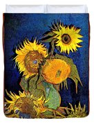 A Modern Look At Vincent's Vase With 5 Sunflowers Duvet Cover