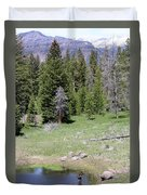 A Moose In The Rockies Duvet Cover