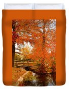 A Morning In Autumn - Lake Carasaljo Duvet Cover by Angie Tirado