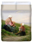 A Mother And Her Small Children Duvet Cover by Edith Hume