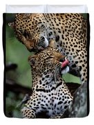 A Mother Leopard, Panthera Pardus Duvet Cover