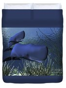 A Mother Sperm Whale Escorts Her Calf Duvet Cover by Corey Ford