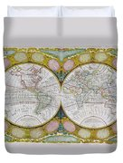 A New And Correct Map Of The World Duvet Cover by Robert Wilkinson