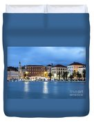 A Night View Of Split Old Town Waterfront In Croatia Duvet Cover