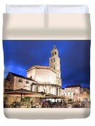 A Night View Of The Cathedral Of Saint Domnius In Split Duvet Cover