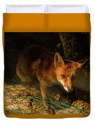 A Nocturne  Meeting With A Fox In The Woodland Duvet Cover