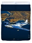 A North American P-51d Mustang Flying Duvet Cover