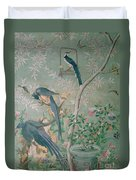 A Pair Of Magpie Jays  Vintage Wallpaper Duvet Cover