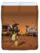 A Pair Of Manned Mars Rovers Rendezvous Duvet Cover