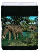 A Pair Of Platybelodon Grazing Duvet Cover by Walter Myers