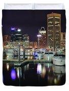A Panoramic Baltimore Night Duvet Cover