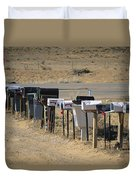A Parade Of Mailboxes On The Outskirts Duvet Cover
