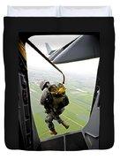 A Paratrooper Executes An Airborne Jump Duvet Cover