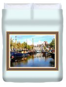 A Peaceful Canal Scene - The Netherlands L A S With Decorative Ornate Printed Frame. Duvet Cover