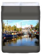 A Peaceful Canal Scene - The Netherlands L B Duvet Cover