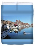 A Pelican Lands In The Old San Carlos Marina, Guaymas, Sonora, M Duvet Cover