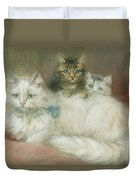 A Persian Cat And Her Kittens Duvet Cover by Maud D Heaps