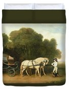 A Phaeton With A Pair Of Cream Ponies In The Charge Of A Stable-lad Duvet Cover