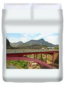 A Pickup Pulling A Travel Trailer Across The Salt River Canyon B Duvet Cover