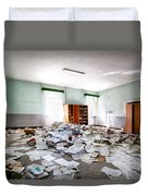 A Pile Of Knowledge - Abandoned School Building Duvet Cover
