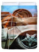 A Pile Of Tied And Netted Autos Duvet Cover