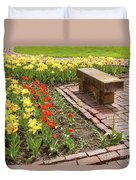 A Place To Sit By The Flowers Duvet Cover