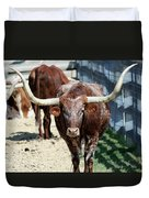 A Portrait Of A Texas Longhorn Steer Duvet Cover