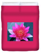 A Red And Yellow Water Lily Flower Duvet Cover