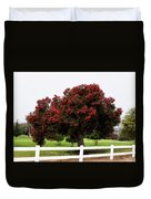 A Red Pin Under A Red Tree At Morro Bay Golf Course Duvet Cover