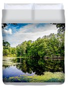 A Reflected Forest On A Lake With Lily Pads Duvet Cover