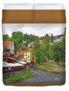 A Riverside Cafe Along The Vltava River In The Czech Republic Duvet Cover