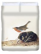 A Robin Perched On A Mossy Stone Duvet Cover