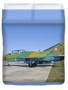 A Romanian Air Force Mig-21b Airplane Duvet Cover