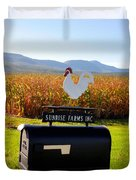 A Rooster Above A Mailbox 2 Duvet Cover