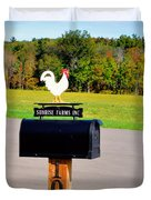 A Rooster Above A Mailbox 3 Duvet Cover